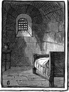 A condemned man's cell in London's Newgate Prison [PD-USA]
