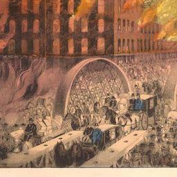 """Chicago in Flames"" by Currier and Ives         [PD-1923]"