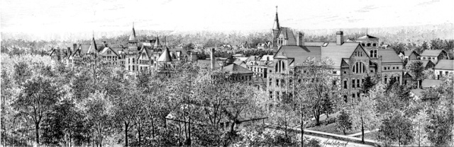 A birds-eye view of Oberlin college in the late 1800s. [PD-1923]