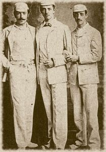 John, Charles, and George Studd as cricket players. [PD-1923]