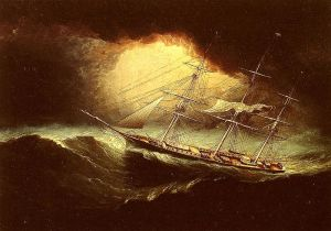 "Painting, ""Ship in a Storm"" by James E. Butterworth [PD-USA]"