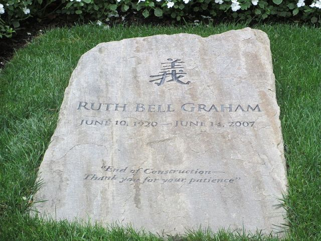Ruth Bell Graham's Gravestone. [photo by Billy Hathorn]