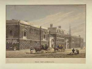 West view of Newgate Prison by George Shepherd-         1784-18621.